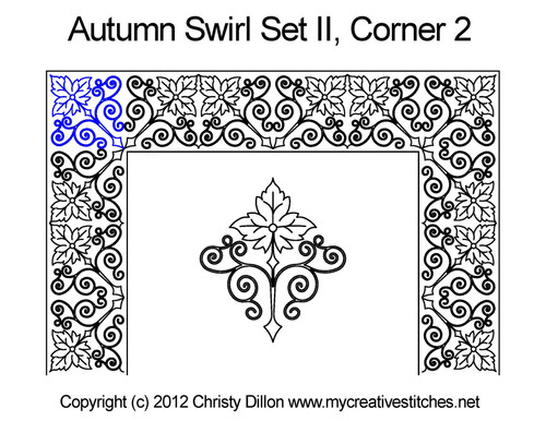 Autumn swirl set corner 2 quilting pattern