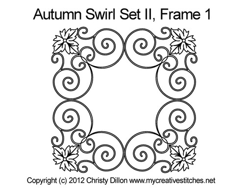 Autumn swirl digital frame 1 quilting designs