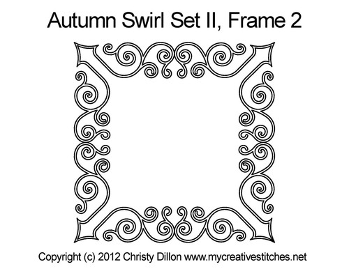 Autumn swirl digitized frame 2 quilt pattern