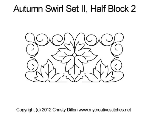 Autumn swirl set half block 2 quilting patterns