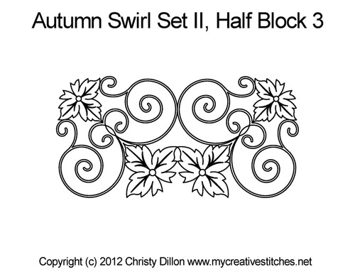 Autumn swirl set half block 3 quilt patterns