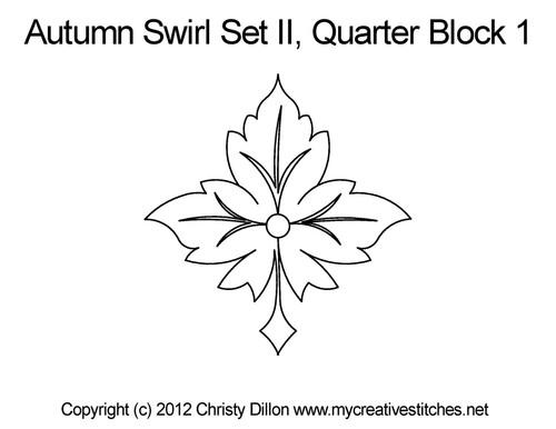 Autumn swirl quarter block 1 quilting designs