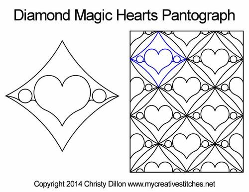 Diamond magic hearts pantographs quilting