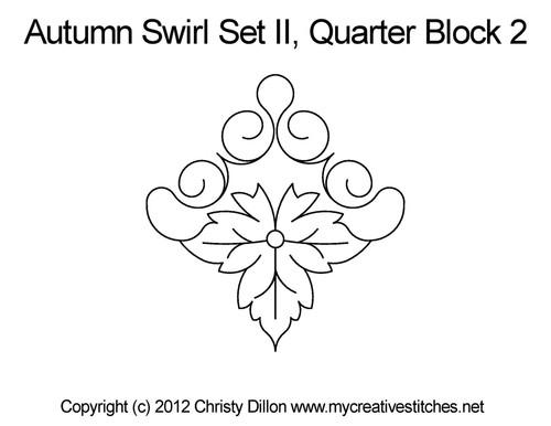 Autumn swirl quarter block 2 quilt designs