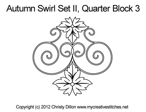 Autumn swirl quarter block 3 quilting designs