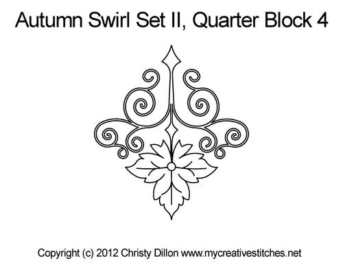 Autumn swirl quarter block 4 quilt designs