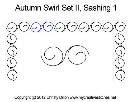 Autumn swirl sashing quilting pattern
