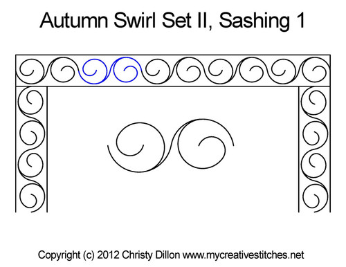 Autumn swirl sashing quilting pattern