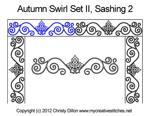 Autumn swirl set 2 sashing quilt design