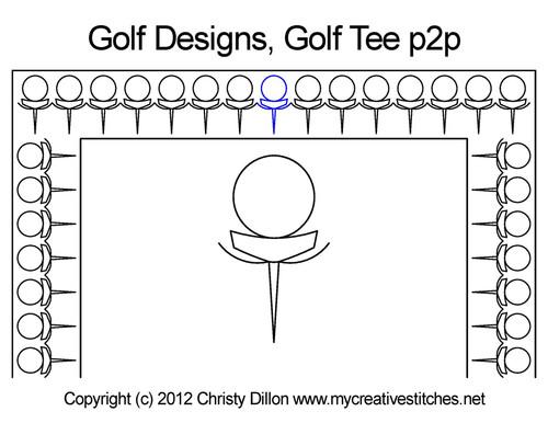 Golf designs golf tee p2p quilting pattern