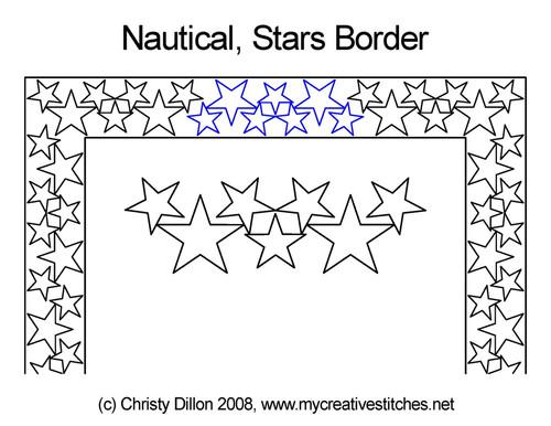 Nautical stars border quilting designs