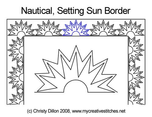 Nautical setting sun border quilt pattern