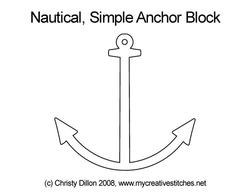 Nautical simple anchor block quilt pattern