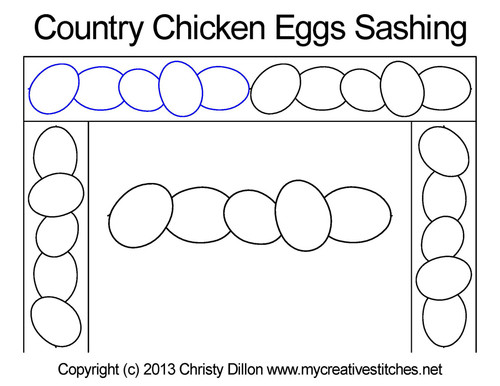 Country chicken eggs sashing quilt design