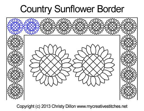 Country sunflower border quilting pattern