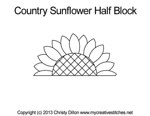 Country sunflower half block quilt pattern