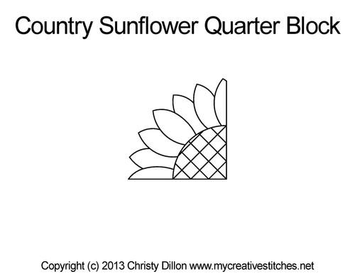 Country sunflower quarter block quilt pattern
