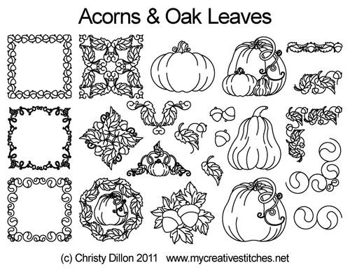 Acorns & Oak leaves quilt design
