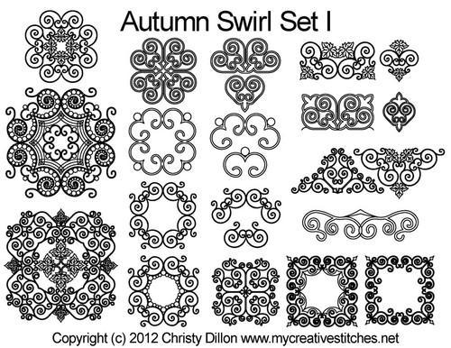 Autumn swirl digital quilt pattern set