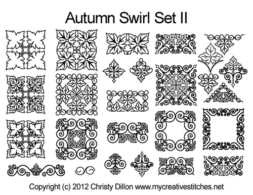 Autumn swirl digital quilt patterns