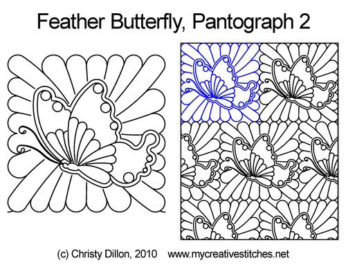 Feather butterfly digitized quilt pantographs