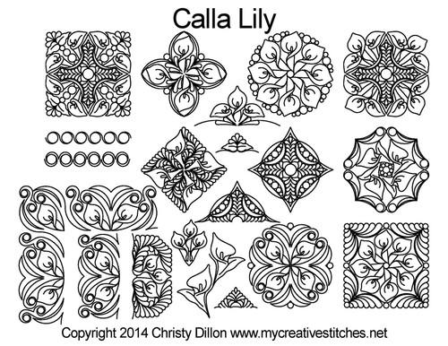 Calla lily free digital quilting designs set