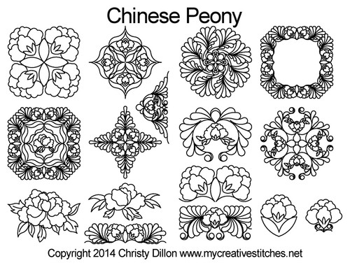 Chinese peony free quilting designs set