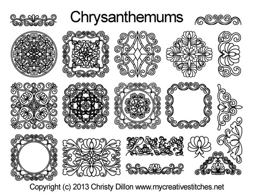 Chrysanthemums free quilting designs set