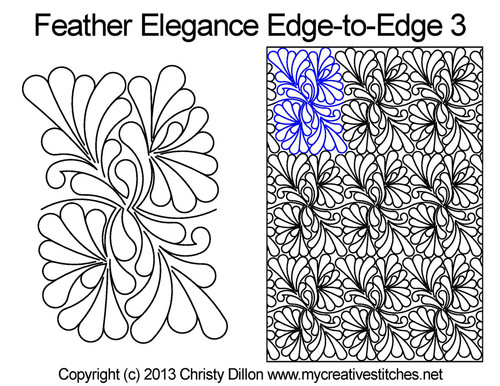 Feather elegance edge to edge 3 digital designs