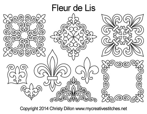 Fleur de lis digitized quilting design set