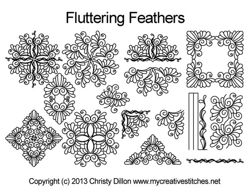 Fluttering feathers digital quilting patterns