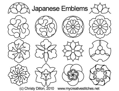 Japanese emblems digitized quilt pattern set
