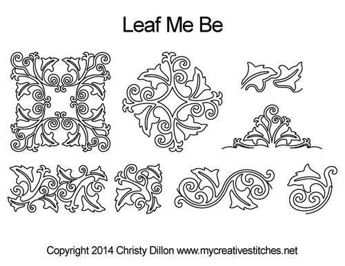 Leaf me be digitized quilting designs