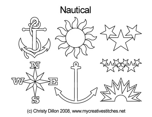 Nautical digitized quilt pattern set