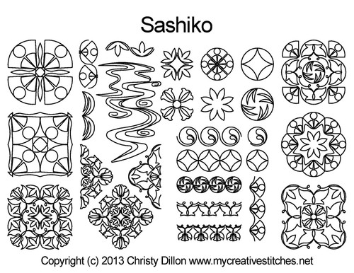 Sashiko free longarm quilting designs