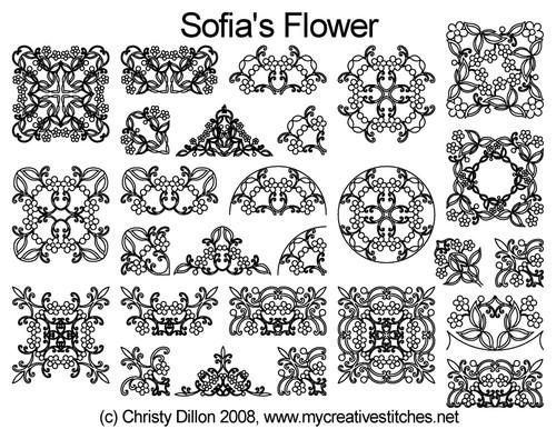 Sofia's flower computerized quilting set