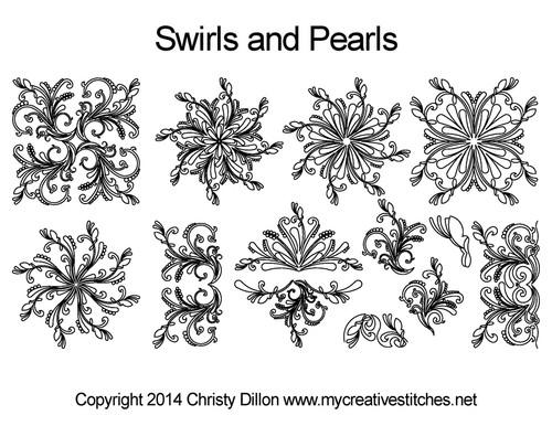 Swirls & perals digital quilting patterns