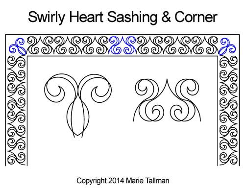 Swirly heart sashing & corner quilt pattern