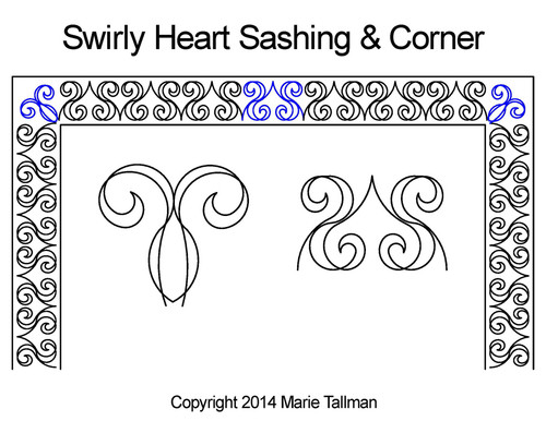 Swirly heart sashing & corner quilt pattern