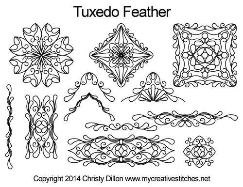 Tuxedo feather digital quilting design set