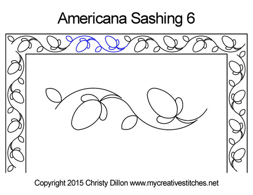 Americana digitized sashing 6 quilt pattern