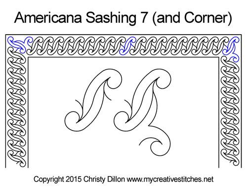 Americana sashing & corner 7 quilt pattern