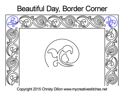 Beautiful day border & corner quilt design
