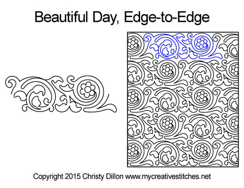 Beautiful day edge to edge digital quilt designs