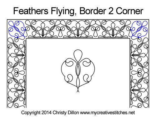 Border and Corner feather flying quilting