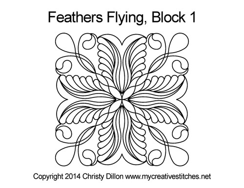 Feather flying quilting design for block 1