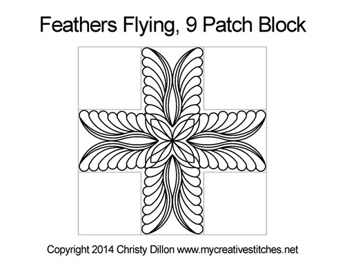 Feather flying 9 Patch Block quilt design