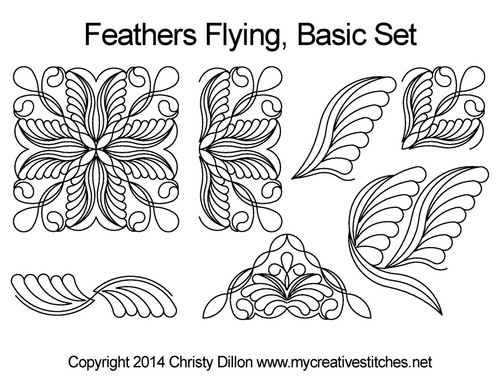 Feather Flying Triangle & square quilt patterns