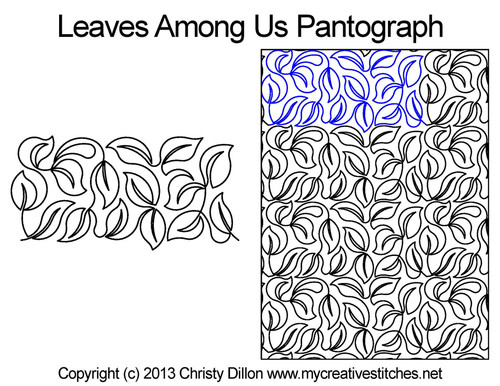 Leaves among Us pantographs quilting