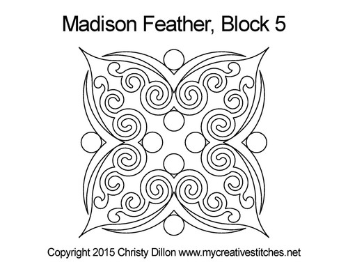 Madison feather quilting pattern for block 5